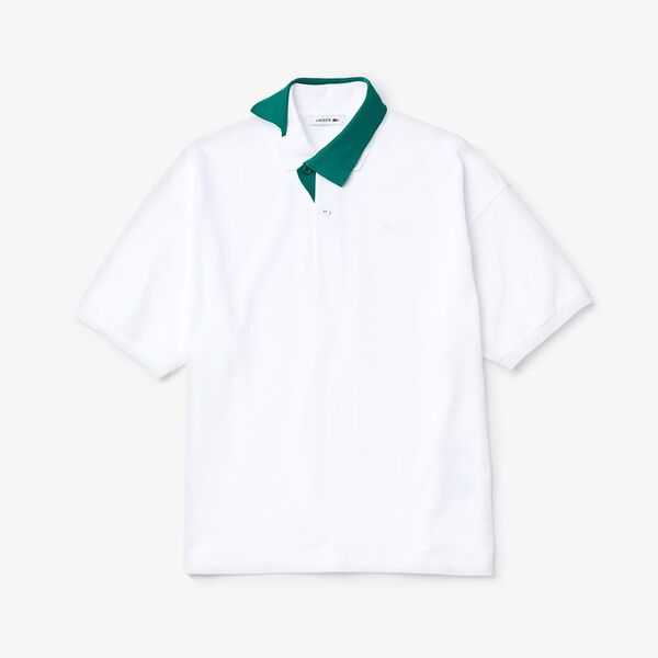 Men's Fashion Show Iconics Jacquard Collar Polo, WHITE/BOTTLE GREEN, hi-res