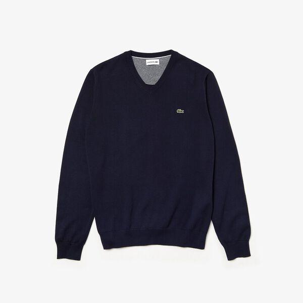 Men's Classic Cotton V Neck Knit, NAVY BLUE/FLOUR-NAVY BLUE, hi-res