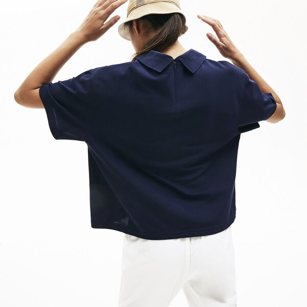 Women's LIVE Boxy Fit Zip Collar Stretch Piqué Polo, MARINE, hi-res