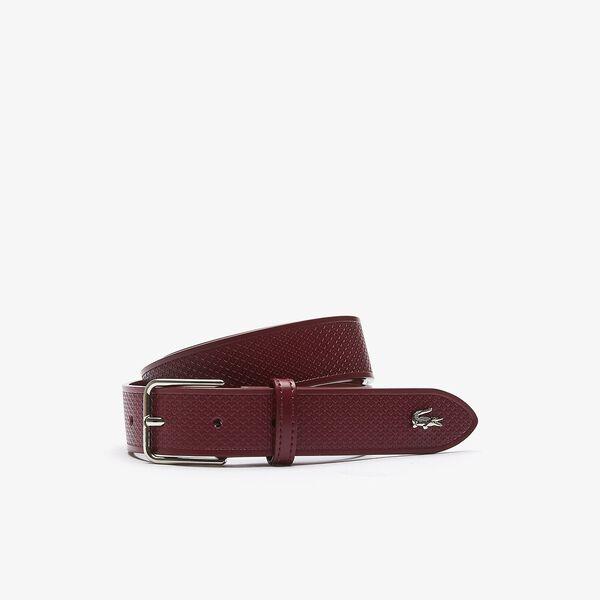 Men's Metal Crocodile Stitched Leather Belt, RHUBARB 476, hi-res