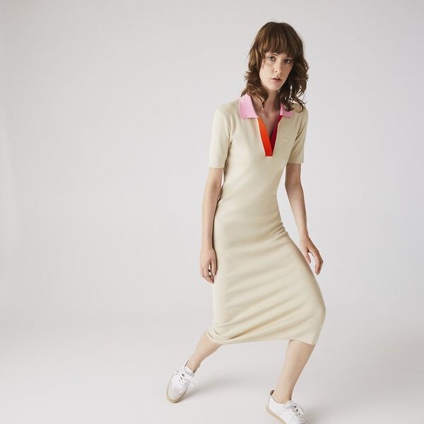 Women's Polo Collar Two-Tone Cotton Knit Long Sweater Dress, SABLER/PINKISH-RED-GLADIO, hi-res