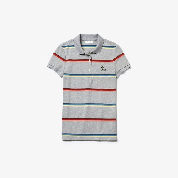 WOMEN'S RAINBOW STRIPE PALM POLO, SILVER CHINE, hi-res