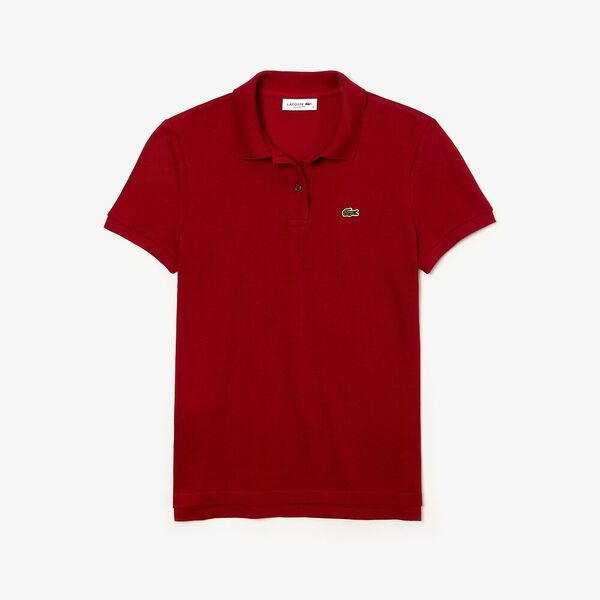 Women's 2 Button Relaxed Fit Polo, BORDEAUX, hi-res