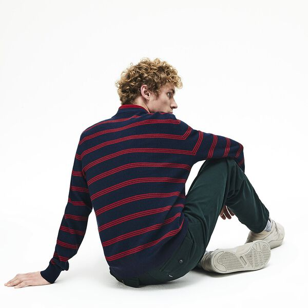 Men's Classic Stripe Crew Neck Knit, NAVY BLUE/ALIZARIN, hi-res