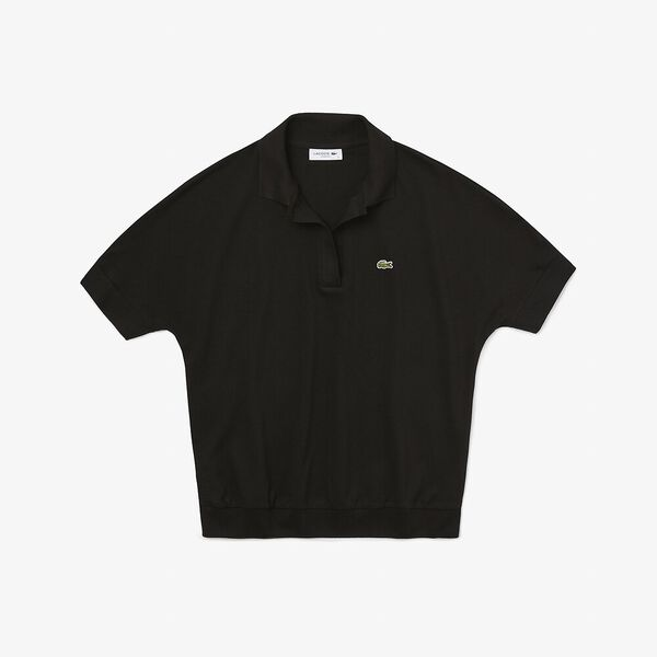 Women's Lacoste Flowy Piqué Polo Shirt, BLACK, hi-res