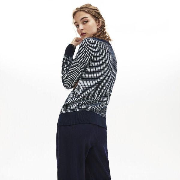Women's Tattersalls Jacquard V Neck Knit, NAVY BLUE/WHEELWRIGHT-GEODE, hi-res