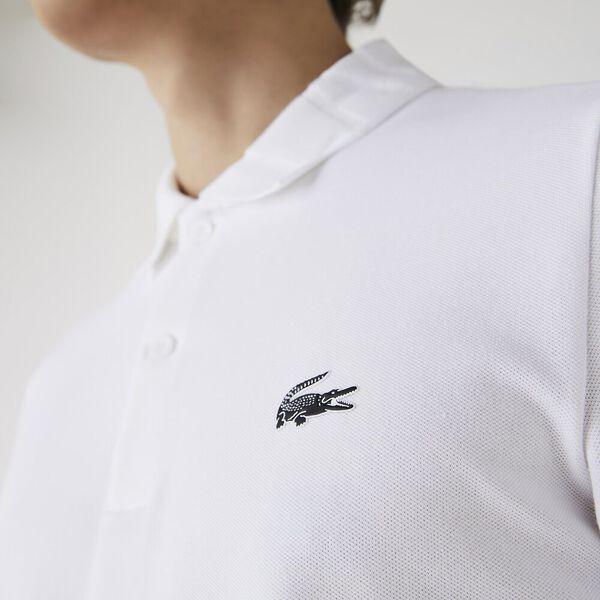 Men's Jacquard Signature Collar Stretch Cotton Polo, WHITE, hi-res