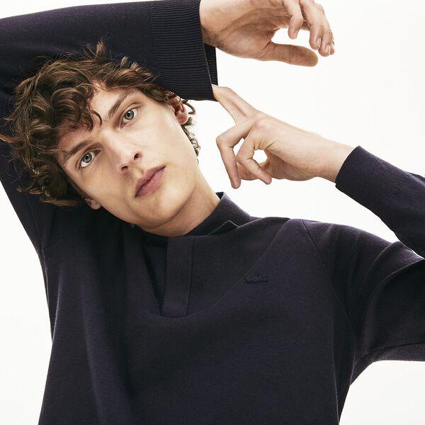 Men's Cotton And Silk Blend Sweater, DARK NAVY BLUE, hi-res