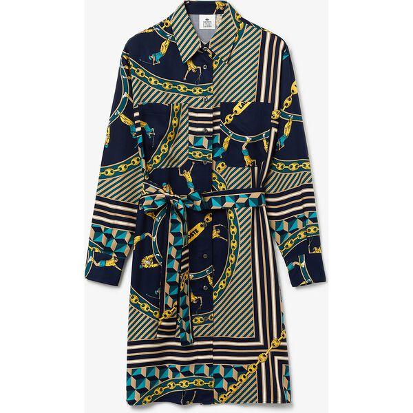 Women's Lacoste LIVE Scarf Print Shirt Dress, MARINE/MULTICO, hi-res