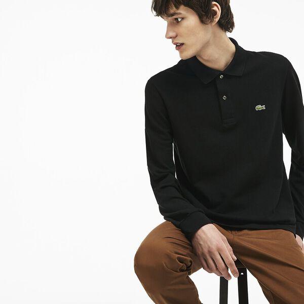 Men's Long Sleeve Classic Fit Polo, BLACK, hi-res