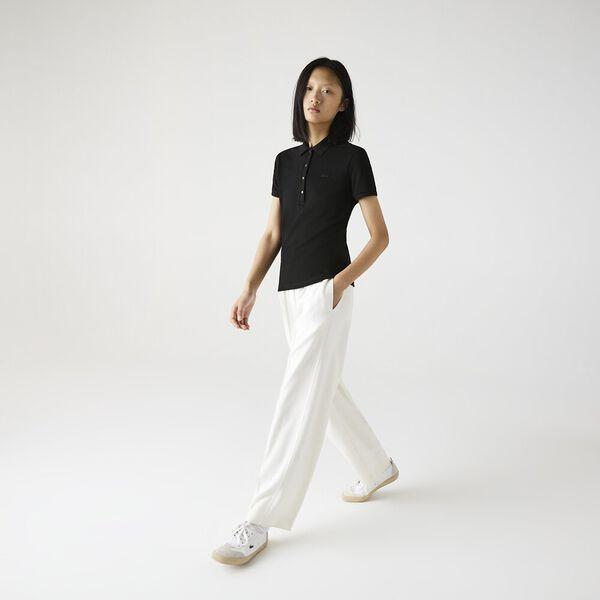 Women's Stretch Cotton Piqué Polo Shirt, NOIR, hi-res