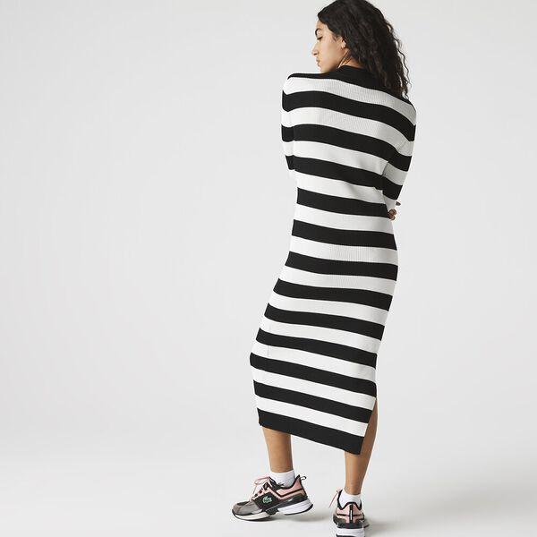 Women's LIVE Ribbed Long Sweater Dress, BLACK/FLOUR, hi-res