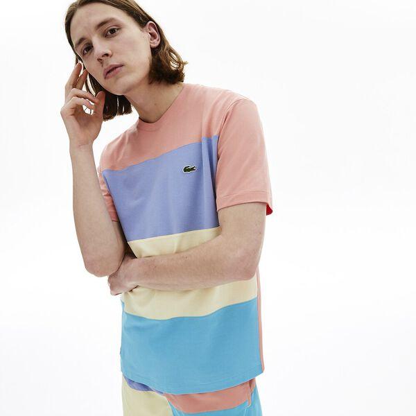 Men's Colourblock Striped Cotton Piqué Crew Neck T-shirt, CICER/CLUSI-PURPY-ELFE, hi-res