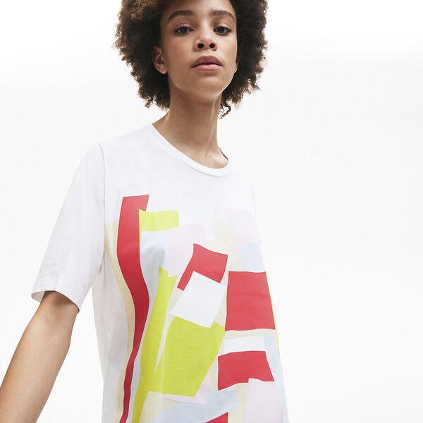 Women's Coloured Design Crew Neck Cotton T-shirt, BLANC, hi-res