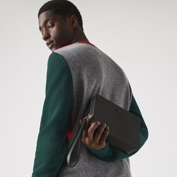 Men's Chantaco Piqué Leather Zip Pouch, NOIR, hi-res