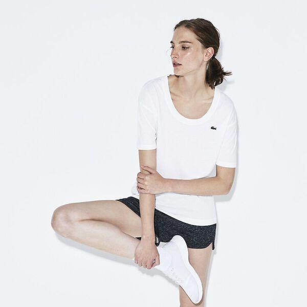 WOMEN'S 3/4 SLEEVE SCOOP NECK TEE, WHITE, hi-res