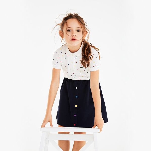 Girl's Polka Dots Polo, FLOUR/MULTICOLOUR, hi-res