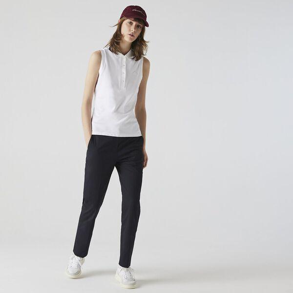 Women's Sleeveless Cotton Piqué Polo, BLANC, hi-res