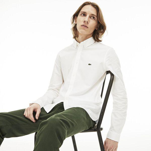 Men's Classic Long Sleeve Slim Stretch Oxford Shirt, WHITE, hi-res