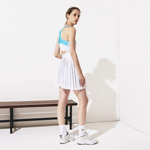 Women's Lacoste SPORT Roland Garros Asymmetrical Pleated Dress, HAITI/BLANC-YUCCA, hi-res
