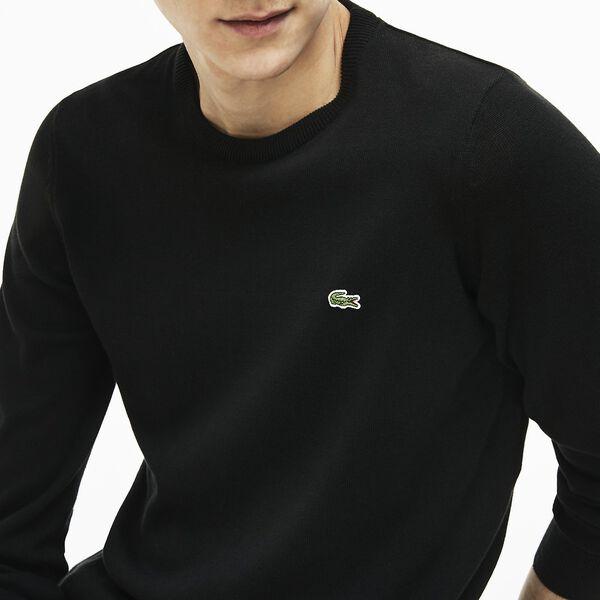 Men's Classic Cotton Crew Neck Knit, BLACK/FLOUR-BLACK, hi-res
