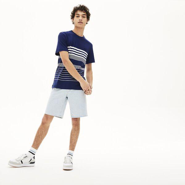 Men's Striped Linen And Cotton Crew Neck T-shirt, FARINE/MARINE, hi-res
