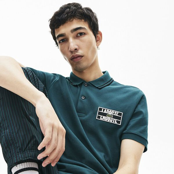 Men's Lacoste LIVE Standard Fit Badge Cotton Piqué Polo Shirt, PIN/NOIR, hi-res