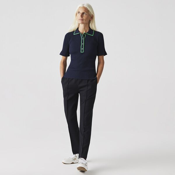 Women's Flounced Sleeve Knit Polo, NAVY BLUE/MALACHITE, hi-res