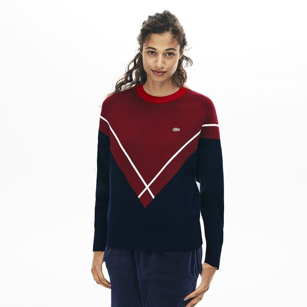 Women's Made In France Jacquard Knit, NAVY BLUE/ALIZARIN-FLOUR, hi-res