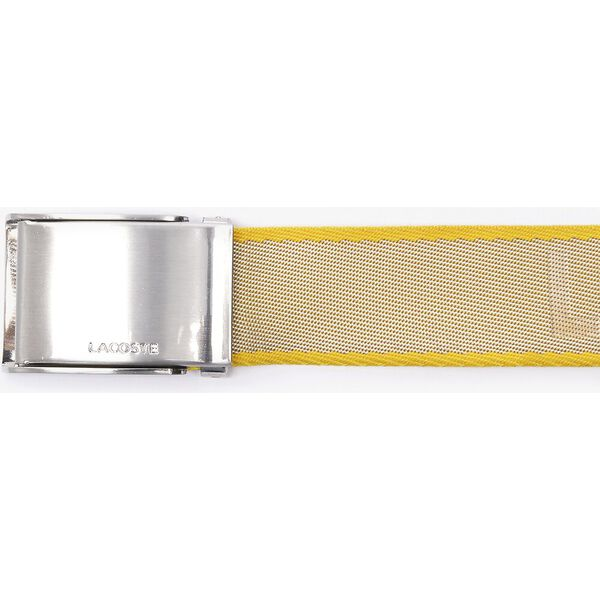 Men's Engraved Plate Buckle Lettered Woven Belt