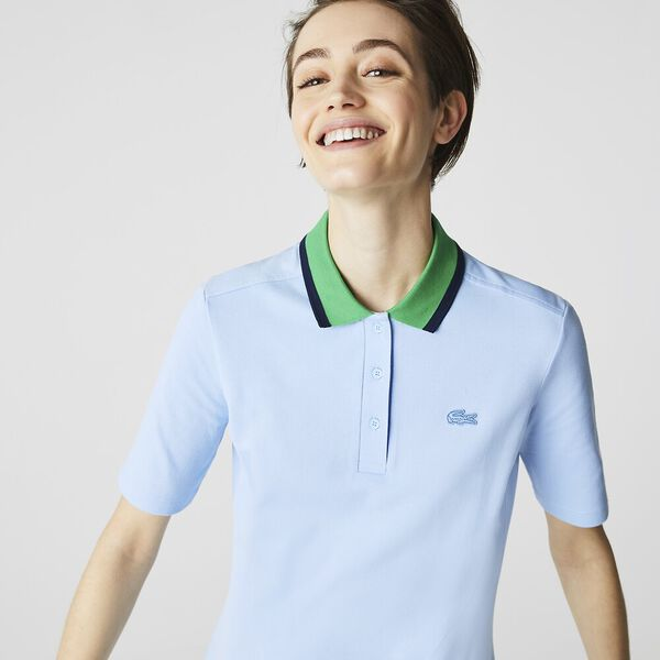 Women's Contrast Collar Stretch Cotton Polo Dress, CREEK/NAVY BLUE-MALACHITE, hi-res