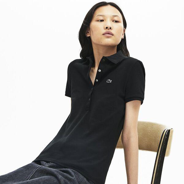 Women's Slim Fit Stretch Mini Cotton Piqué Polo Shirt, BLACK, hi-res