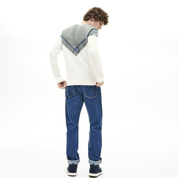 Men's Made In France Jacquard Crew Neck Knit, FLOUR/SINOPLE-KING, hi-res