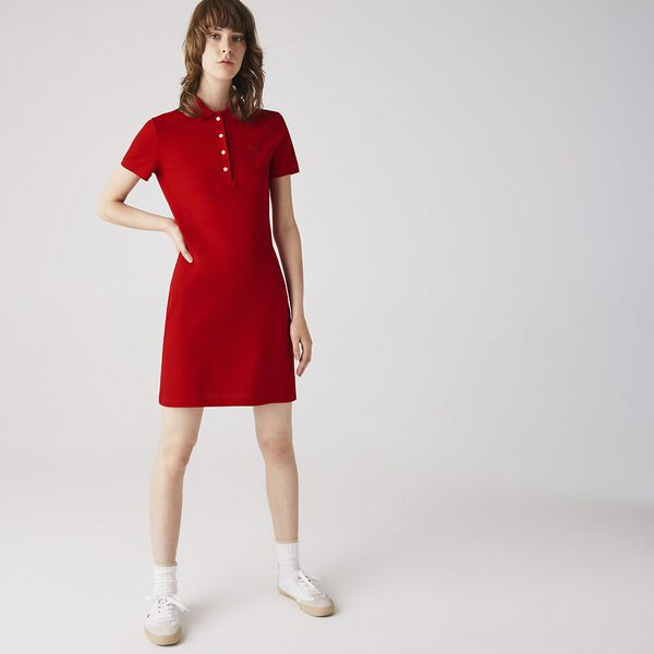 Women's Stretch Cotton Polo Dress, RED, hi-res
