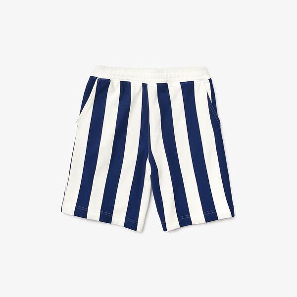 Men's Lacoste LIVE Striped Fleece Bermudas, FARINE/METHYLENE, hi-res