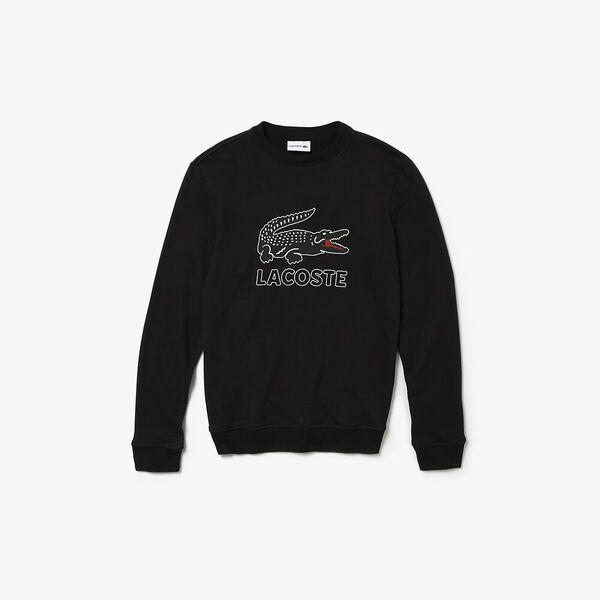 Men's Lacoste Croc Crewneck Sweat, BLACK, hi-res