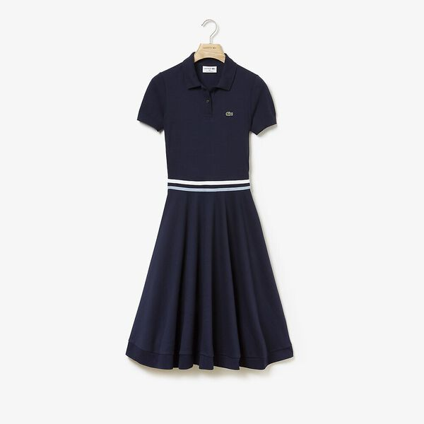 WOMEN'S MADE IN FRANCE 2 STRIPE POLO DRESS, NAVY BLUE/CREEK/NAVY BLUE, hi-res