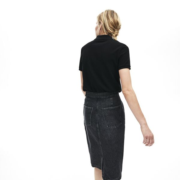 Women's 2 Button Relaxed Fit Polo, BLACK, hi-res
