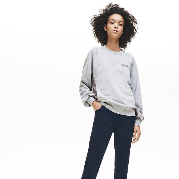 Women's Tattersalls Fleece Sweatshirt, SILVER CHINE, hi-res