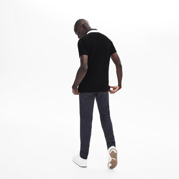 Men's Classic Slim Fit Jacquard Collar Polo, BLACK, hi-res