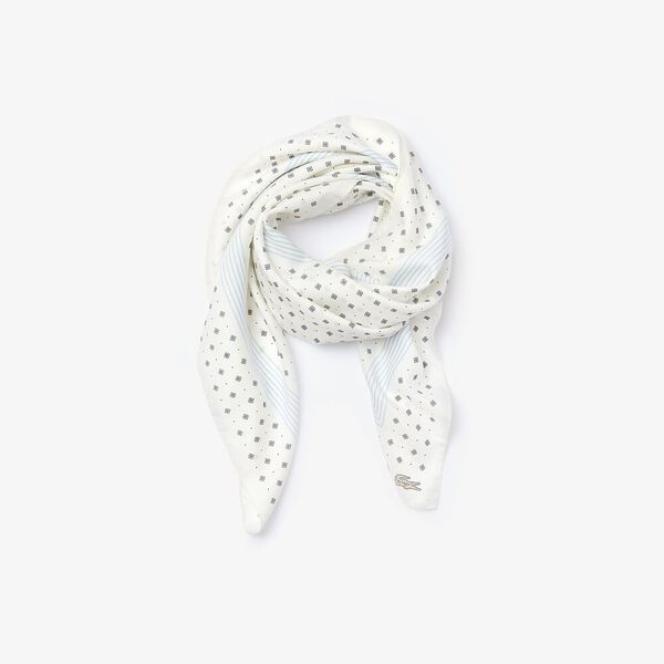 Women's Lacoste Print Lightweight Cotton And Silk Scarf, BLANC/FOUINE-MARINE, hi-res