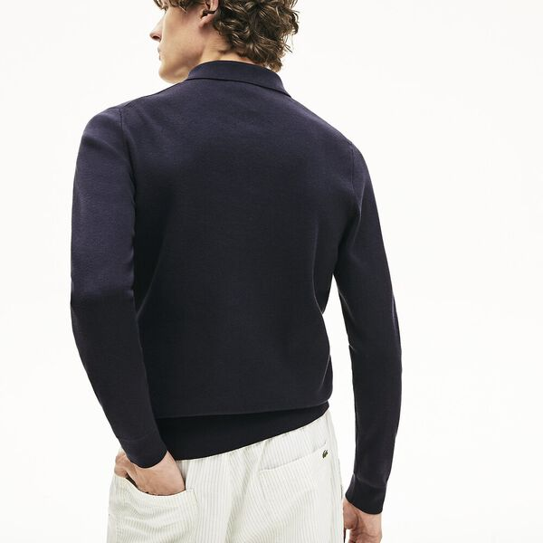 Men's Cotton And Silk Blend Sweater, DARK NAVY BLUE, hi-res