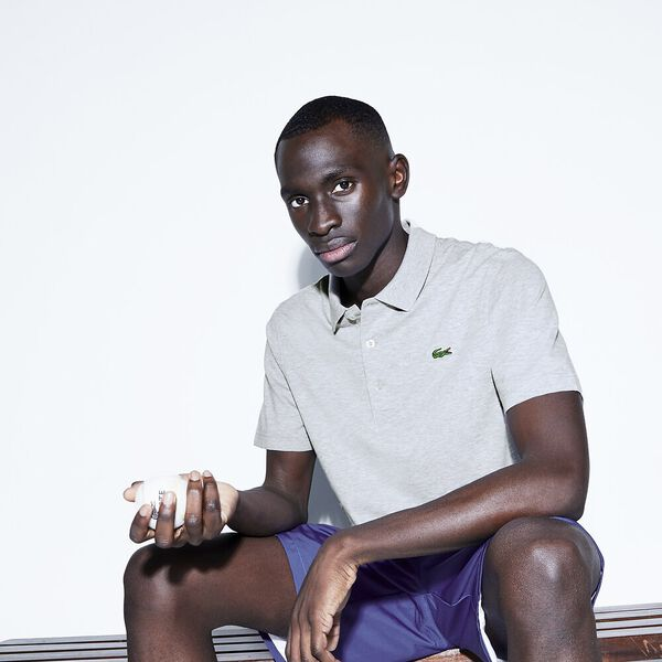 Men's SPORT Tennis regular fit Polo Shirt in ultra-lightweight knit, SILVER CHINE, hi-res