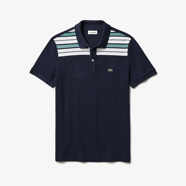 Men's Striped Pane Polo Shirt, MARINE/BLANC-NIAGARA, hi-res