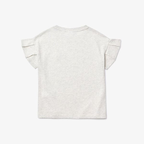 Girl's Ruffle Sleeved Cotton T-shirt, ALPES CHINE, hi-res