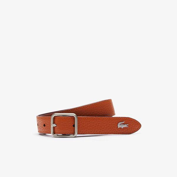 Women's Fine Reversible Smooth And Grained Leather Belt, BORDEAUX FANGO, hi-res