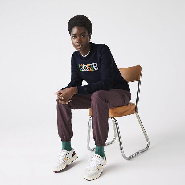 Women's Crew Neck Colored Embroidery Fleece Sweatshirt
