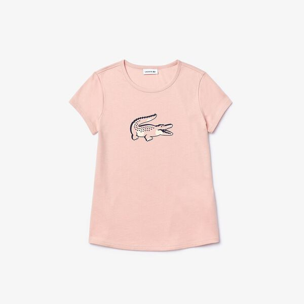 Girl's Printed Cotton Crew Neck T-shirt