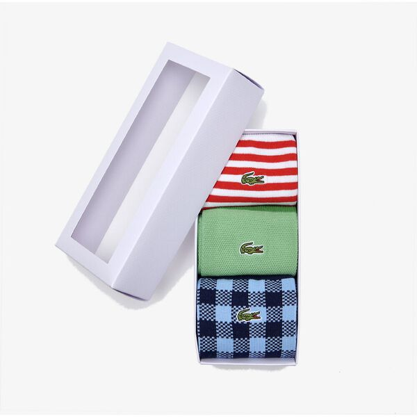 Men's Cotton Blend Sock Three-Pack, WHITE/REDCURRANT BUSH, hi-res