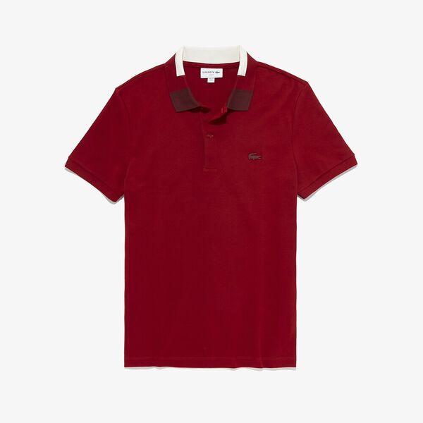 Men's Classic Slim Fit Jacquard Collar Polo, ALIZARIN, hi-res